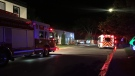 Emergency crews respond to a fire Wednesday evening at the Hunter Gatherer Vegetarian Diner on 15 Ave. (Cole Davenport/CTV News Regina)