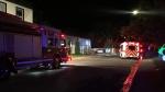 Emergency crews respond to a fire Wednesday evening at the Hunter Gatherer Vegetarian Diner on 15 Ave. (Cole Davenport/CTV News Regina)