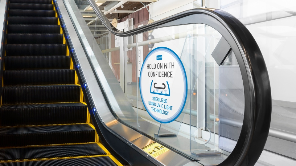Escalator handrail sanitizer (Courtesy: KONE)