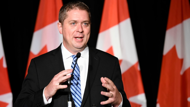 Conservative Leader Andrew Scheer speaks about Justin Trudeau and the WE charity during a press conference in Regina on Thursday, July 30, 2020. (THE CANADIAN PRESS/Michael Bell)