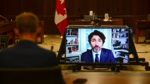 Prime Minister Justin Trudeau appears as a witness via videoconference during a House of Commons finance committee in the Wellington Building on Thursday, July 30, 2020. The committee is looking into Government Spending, WE Charity and the Canada Student Service Grant. THE CANADIAN PRESS/Sean Kilpatrick
