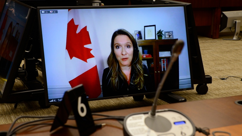 Katie Telford, Chief of Staff to the Prime Minister, appears as a witness via videoconference during a House of Commons finance committee in the Wellington Building in Ottawa, Thursday, July 30, 2020. The committee is looking into Government Spending, WE Charity and the Canada Student Service Grant. THE CANADIAN PRESS/Sean Kilpatrick