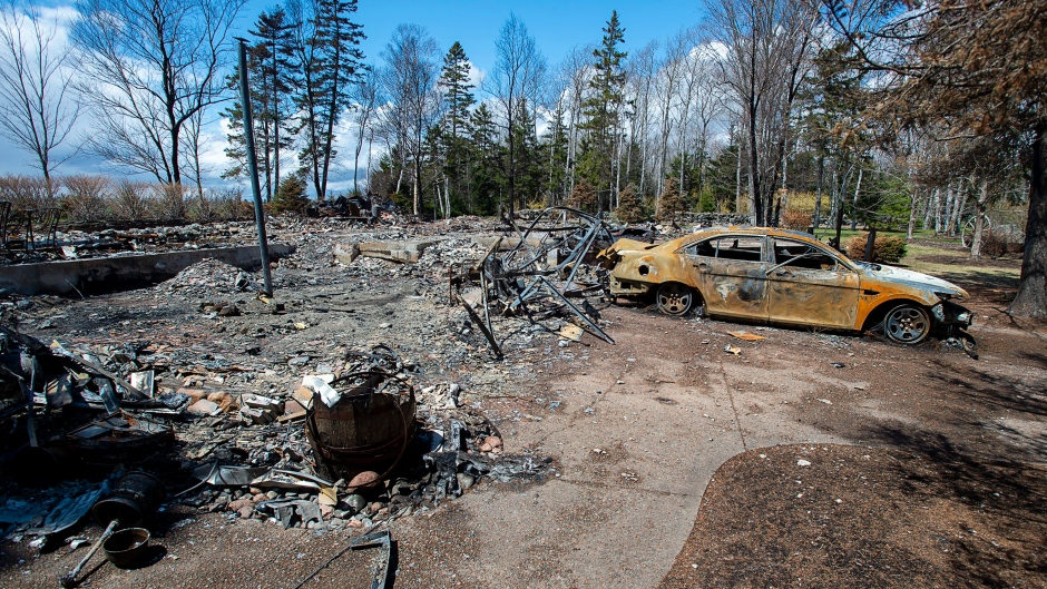 A fire-destroyed property registered to Gabriel Wortman at 200 Portapique Beach Road is seen in Portapique, N.S., Friday, May 8, 2020. THE CANADIAN PRESS/Andrew Vaughan
