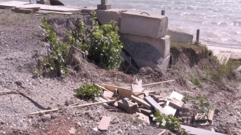 High water levels at Lake Erie are causing erosion at beach front properties