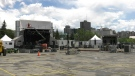 Crews were setting up at the Zibi site in Gatineau on Thursday for the start of the RBC Bluesfest Drive-In. (Jeremie Charron/CTV News Ottawa)