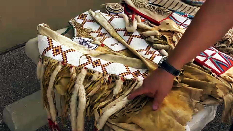 A Blackfoot weasel tail shirt repatriated from an estate sale. The Siksika Nation Chief and Council have been working to return sacred and culturally significant items back into the Blackfoot community.