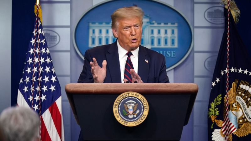U.S. President Donald Trump speaks during a news conference at the White House, Thursday, July 30, 2020, in Washington. (AP / Evan Vucci)