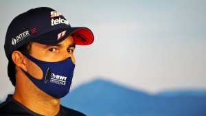 Racing Point driver Sergio Perez at the Hungaroring racetrack in Mogyorod, Hungary, on July 16, 2020. (FIA Pool via AP)