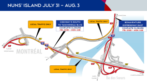 From July 31 to Aug. 3, 2020, there will be major work in the Nuns' Island area resulting in closures throughout the area. SOURCE Mobility Montreal