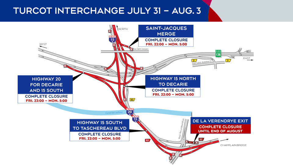 Turcot Interchange closures July 31 to Aug. 3