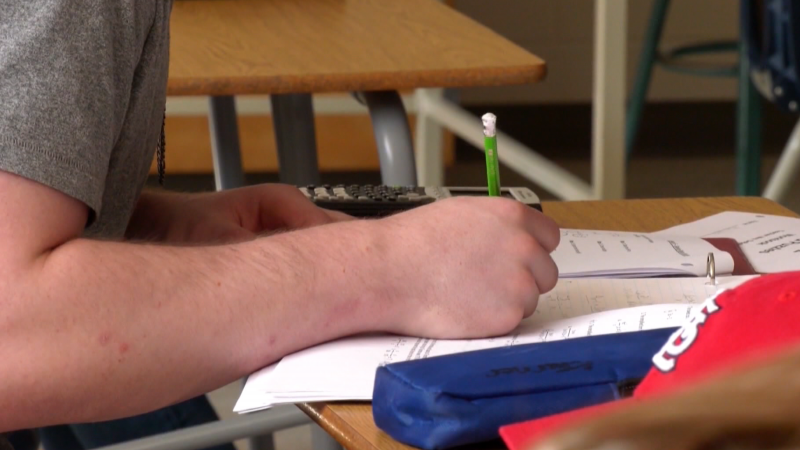 Student working in a classroom
