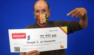 Joseph Sutherland of Moosonee is $77,777 richer after winning with INSTANT TRIPLING RED 7S, an Ontario Lottery and Gaming Corp. scratch ticket. (Supplied)
