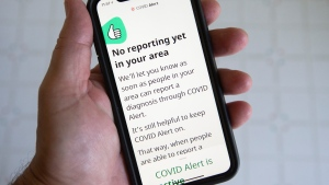 A Canadian smartphone app released Friday July 31, 2020 meant to warn users if they've been in close contact with someone who tests positive for COVID-19 is seen Friday, July 31, 2020 in Montreal.THE CANADIAN PRESS/Ryan Remiorz