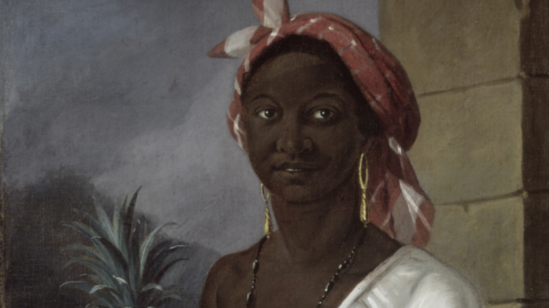 "This 1786 painting, titled ""Portrait of a Haitian woman,"" was done by François Malépart de Beaucourt and is believed to be an enslaved woman named Marie-Thérèse Zémire at age 15. (Wikimedia Commons/McCord Museum)"