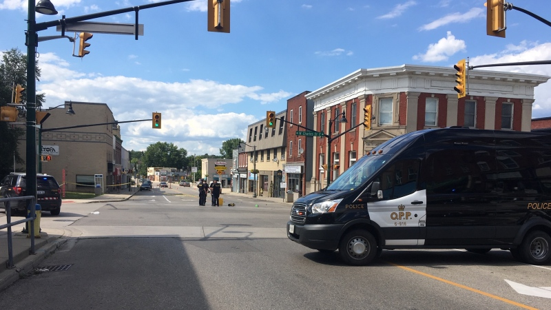 Oxford County OPP block the scene of a fatal pedestrian collision in Ingersoll, Ont. on Friday, July 31, 2020. (Taylor Choma / CTV News)