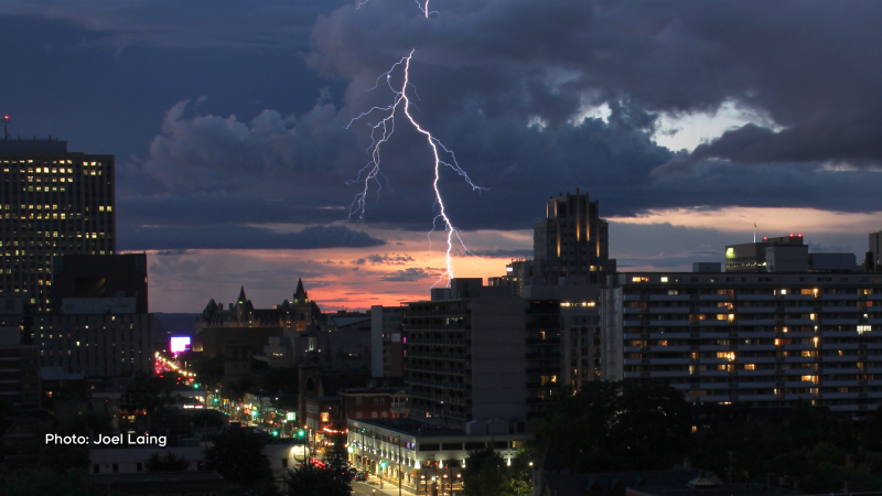 Lightning over Elgin Street. (Joel Laing/CTV Viewer)