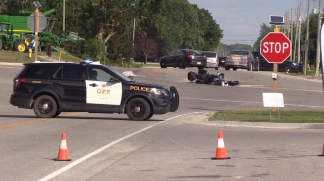 Police are on the scene of a crash in Blyth on Friday, July 31, 2020, that sent one person to hospital. (Scott Miller / CTV London)