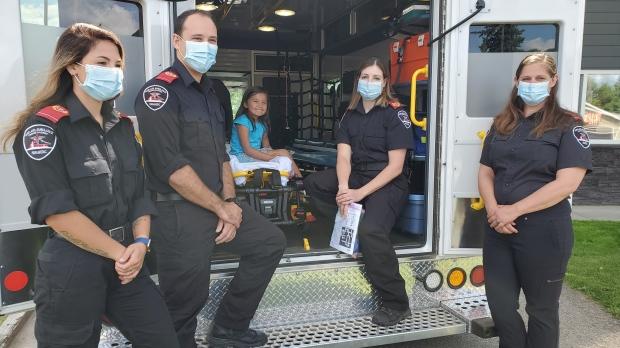Paramedic Kolby Ellis, Traylynn McCallum, paramedic Levon Nagy, paramedic Cory Kulcheski and communications specialist Danielle Henry. (Parkland Ambulance Care)