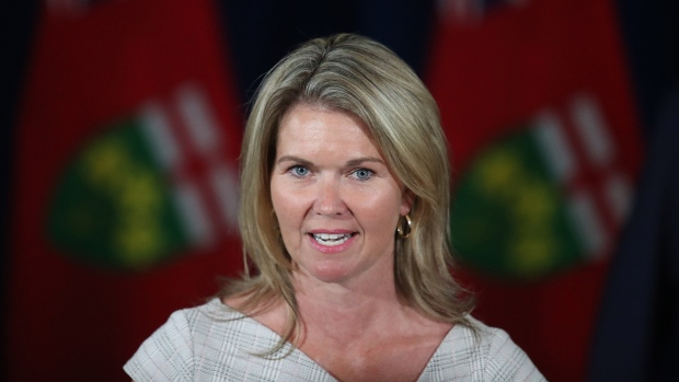 Ontario Associate Minister of Children and Women's Issues Jill Dunlop makes an announcement at the daily briefing on COVID-19 at the legislature in Toronto, Thursday, June 25, 2020. THE CANADIAN PRESS/Steve Russell-Pool