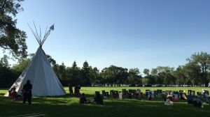 A tipi was erected on the grounds of the Saskatchewan Legislative Building to mark the end of the 'Walking With Our Angels' suicide awareness walk. (Katy Syrota/CTV News)