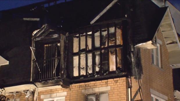 Fire destroys section of townhouse complex in Toronto's Belgravia's neighbourhood