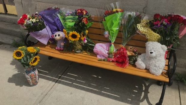 Memorial to Ingersoll, Ont. woman who died July 31, 2020 shortly after she was struck by a transport while pushing a baby stroller. (Sean Irvine/CTV London)