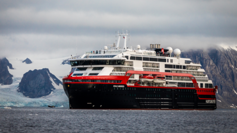 Expedition cruise ship MS Roald Amundsen at Svalbard. (Courtesy of Hurtigruten)