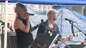 A Kitchener couple celebrated their cancelled wedding by putting on a free concert on Friday, July 31, 2020. (Adam Marsh / CTV Kitchener)