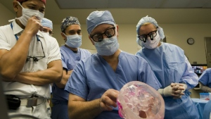 Doctors at the Cleveland Clinic -- (L-R) Dr. Risal Djohan, Dr. Daniel Alam, Dr. Francis Papay and Dr. Maria Siemionow -- completed the operation on Connie Culp in December 2008. (AFP)
