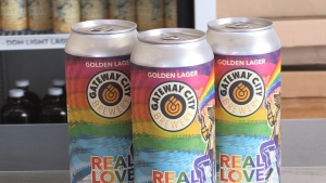 Every 50 cents from a can sale of Gateway City Brewery's 'Real Love Golden Lager' will go to North Bay Pride committee to help pay for technology set-up for its three day virtual celebration, which is slated for mid-September. July 31/2020 (Eric Taschner/CTV News Northern Ontario)