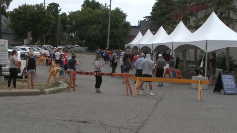 Residents of Ottawa line up to be tested for COVID-19 at the assessment centre at the Brewer Arena, July 30, 2020. (Mike Merserau / CTV News Ottawa)