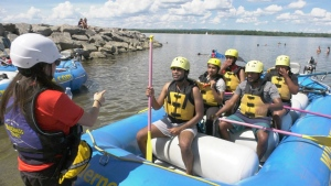 A group gets ready to go rafting in Ottawa this long weekend. Aug. 1, 2020. (Dave Charbonneau / CTV News Ottawa)