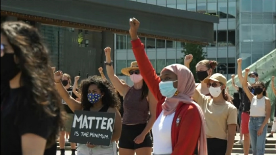 Roughly 150 people gathered in Vancouver's Jack Poole Plaza Saturday for a rally and march commemorating Emancipation Day - the day slavery ended in the British Empire in 1834. (CTV)