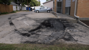 A vehicle fire in the 500 block of 5th Ave. North on August 1 caused $15,000 in damage, according to the Saskatoon Fire Department (Chad Leroux/CTV Saskatoon)
