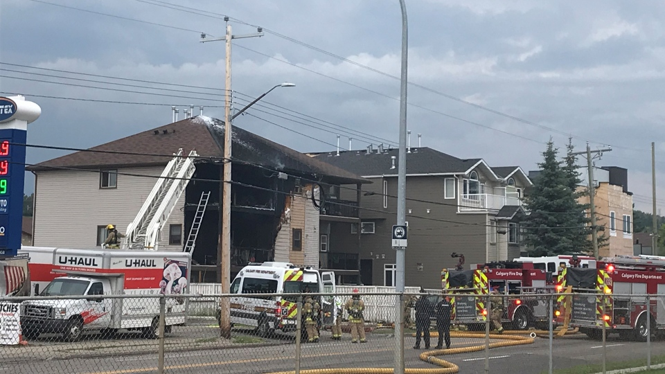 Flames damaged a multi-family home in Calgary on Aug. 1. (CTV)