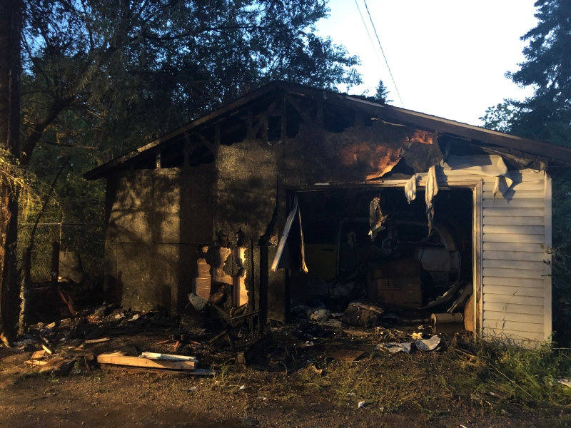 A garage was gutted by fire on Aug. 1 in the 200 block of Avenue G South. Submitted by the Saskatoon Fire Department