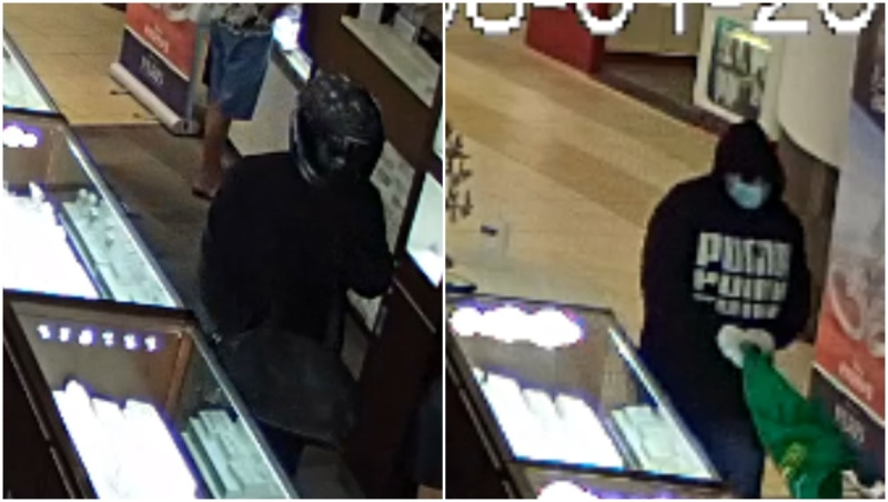 Calgary police are looking for these two men, believed to be behind a jewellery store robbery Saturday afternoon. (Supplied)