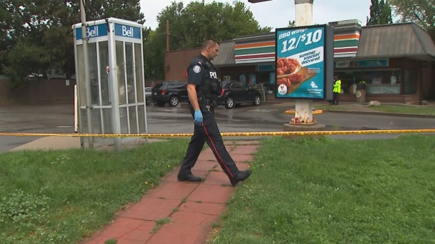 Police investigate a shooting in Etobicoke on Aug. 2, 2020.