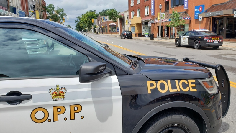 OPP investigate an incident in downtown Simcoe on Sunday, Aug. 2, 2020. ( Scott Clarke / CTV Kitchener)