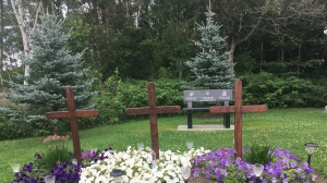 """The family went to the site near the end of July and found that all of the tops of the solar lights had been removed, an act that they are calling """"senseless."""" Aug.2/2020 (Alana Pickrell/CTV News Northern Ontario)"""