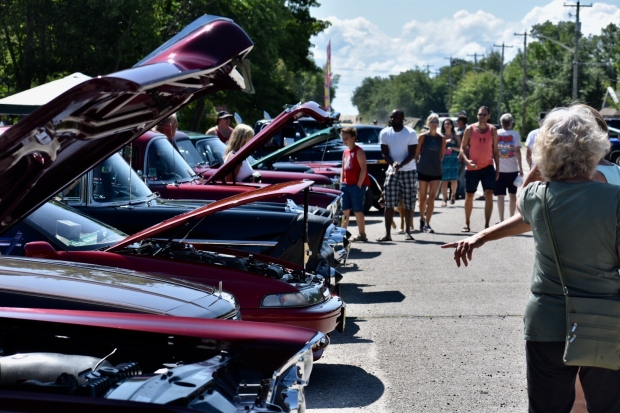 Manitobans shined up the chrome on their classic cars for the Beach Daze Show and Shine in Grand Marais Sunday. (Source: John Schneider)