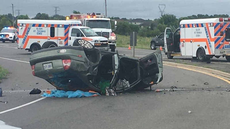 Rollover crash outside of St. Thomas Ont. on Aug. 2, 2020. (Brent Lale/CTV London)