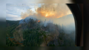 The larger of the two fires on Green Mountain is about 15 hectares in size. (Coastal Fire Centre)