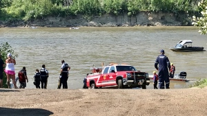 Emergency crews pulled a man from the North Saskatchewan River on Sunday. (Sean Amato/CTV News Edmonton)