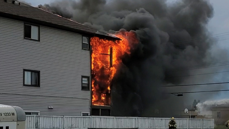 Fire broke out at an apartment building on Saturday. (Credit:Julian Moore)