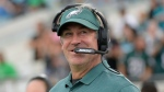 In this Aug. 15, 2019, file photo, Philadelphia Eagles head coach Doug Pederson watches from the sideline during the first half of an NFL preseason football game against the Jacksonville Jaguars in Jacksonville, Fla. (AP Photo/Phelan M. Ebenhack, File)
