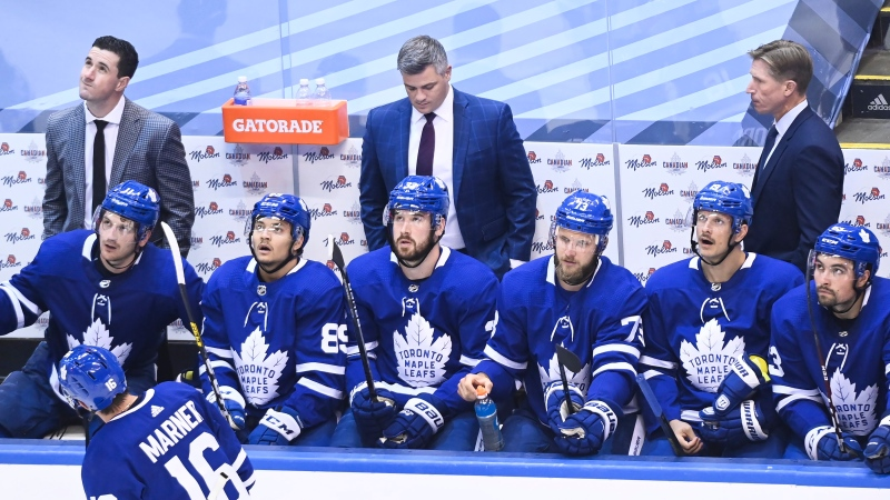 The Toronto Maple Leafs team bench looks on after being defeated in third period NHL Eastern Conference Stanley Cup playoff action by the Columbus Blue Jackets, in Toronto, Sunday, Aug. 2, 2020. THE CANADIAN PRESS/Nathan Denette