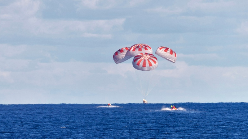 The SpaceX capsule splashes down Sunday, Aug. 2, 2020, in the Gulf of Mexico. Astronauts Doug Hurley and Bob Behnken spent a little over two months on the International Space Station. It s the first splashdown in 45 years for NASA astronauts and the first time a private company has ferried people from orbit. (Cory Huston/ NASA via AP)
