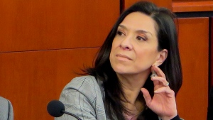 FILE - This undated file photo provided by the Rutgers Law School shows U.S. District Judge Esther Salas during a conference at the Rutgers Law School in Newark, N.J. (Rutgers Law School via AP, File)