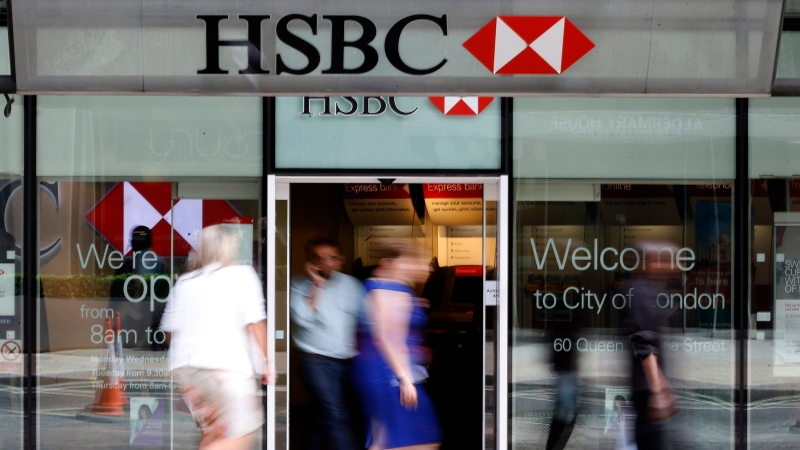 Europe's biggest bank, HSBC, has reported Monday, Aug. 3, 2020, its net profit plummeted 96% in the second quarter of this year as lower interest rates combined with the downturn due to the coronavirus pandemic stunted business activity. (AP Photo/Frank Augstein, File)